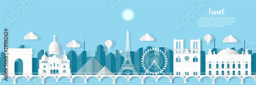 Travel French architecture of Paris landmark in France cityscape and the river with panoramic views , origami style paper for travel postcards, Vector illustration.