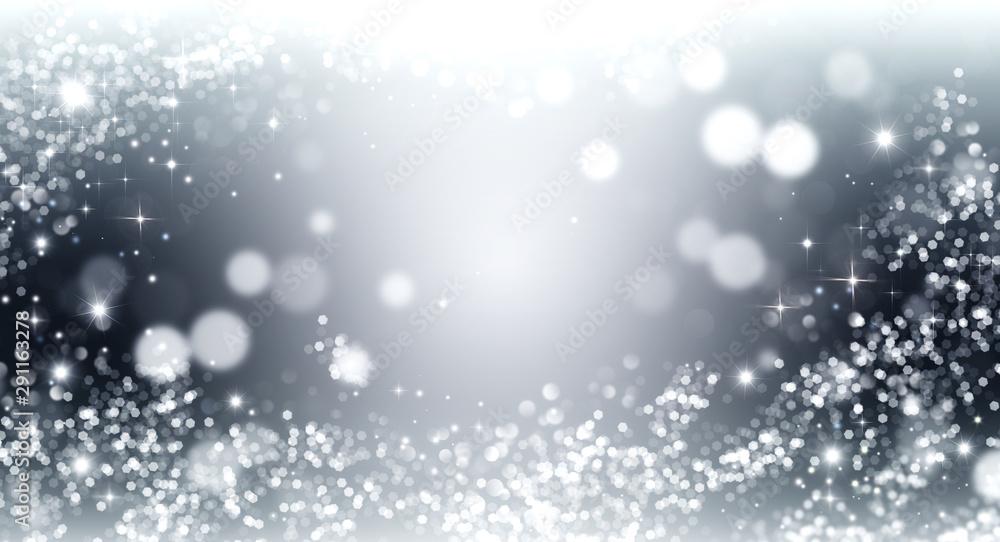 Fototapeta Elegant silver and white glitter, sparkle background with stars