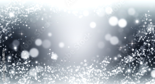 Fotomural  Elegant silver and white glitter, sparkle background with stars