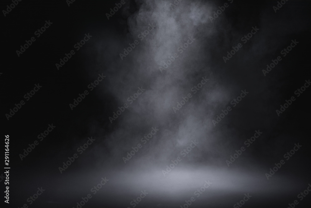 Fototapeta empty floor with smoke on dark background