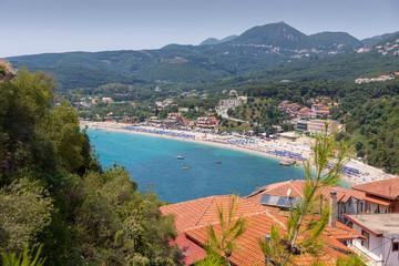 View from above Valtos Beach in Parga, Greece