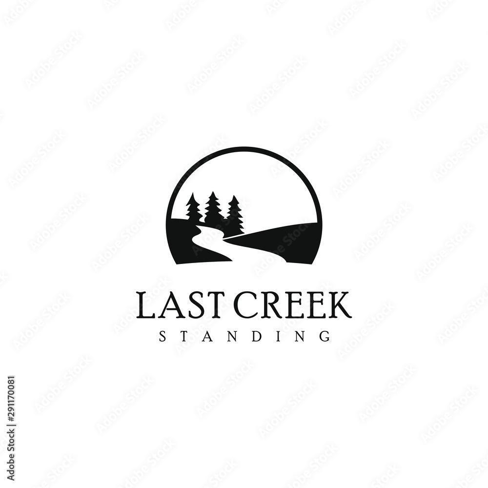 Fototapeta  pine creek logo simple modern river design template