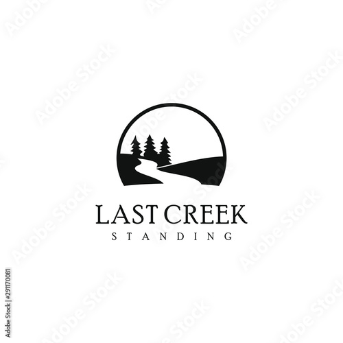 Fotografia pine creek logo simple modern river design template