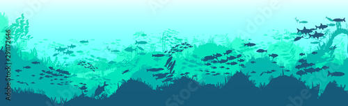 Printed kitchen splashbacks Green coral Silhouette of fish and algae on the background of reefs. Underwater ocean scene. Deep blue water, coral reef and underwater plants. a beautiful underwater scene; a vector seascape with reef.