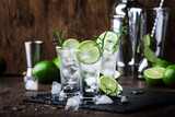 Classic gin tonic cocktail with lime, ice and rosemary. Vintage bar, bar tools. With copy space
