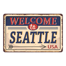 Vintage Tin Sign With America State. Washington. Retro Souvenirs Or Postcard Templates On Rust Background.