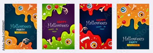 Cuadros en Lienzo Set of Halloween poster, banner or flyer templates