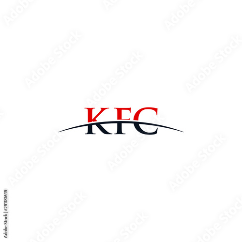 Initial letter KFC, overlapping movement swoosh horizon logo company design inspiration in red and dark blue color vector