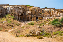 Island Of Cyprus. Ancient Ruins In Paphos City. Carved In Stone Tombs Of Ancient Kings. Archaeology. Royal Tombs In Paphos. An Open-air Monument Of Antiquity.