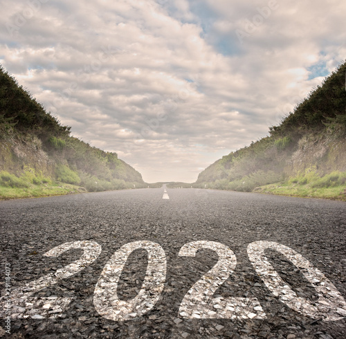 Poster Individuel year 2020 painted on asphalt road. New year concept.
