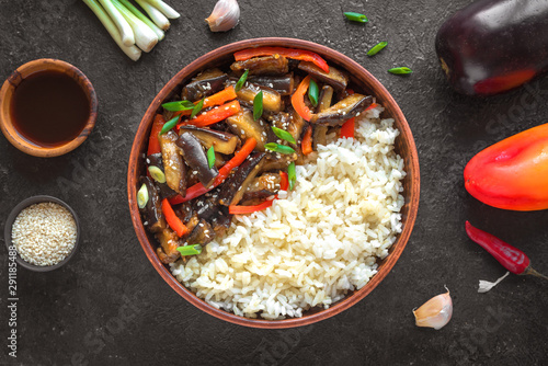 Vegetable stir fry with rice Wallpaper Mural