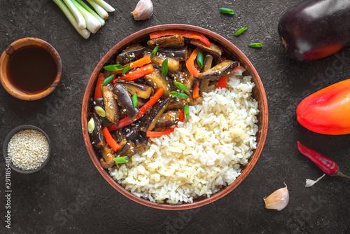 Valokuva  Vegetable stir fry with rice