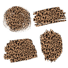 Fashionable Leopard Background In The Form Of Spots, Brush Strokes. For Your Design, Cards, Print, Posters.