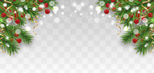 Christmas And Happy New Year Border With Christmas Tree Branches And Holly Berries, Golden Ribbons And Stars Isolated On Transparent Background. Vector