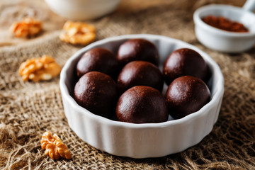 Dates walnuts chocolate raw balls