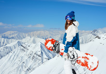 Cheerful Girl Snowboarder On T...