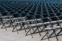 Rows Of Folding Chairs, Empty Seats Ion Event - Chair Row -