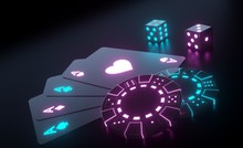 Four Aces, Casino Chips And Dices With Futuristic Glowing Purple And Blue Neon Lights Isolated On The Black Background - 3D Illustration
