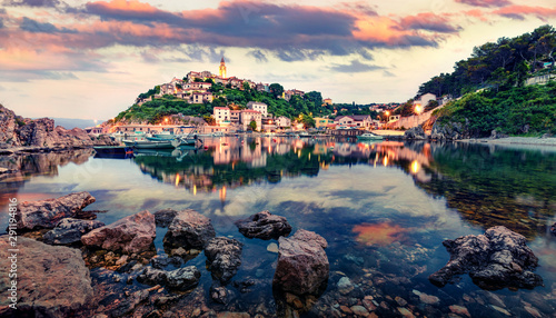 Amazing evening cityscape of Vrbnik town. Fantastic summer seascape of Adriatic sea, Krk island, Kvarner bay archipelago, Croatia, Europe. Beautiful world of Mediterranean countries.