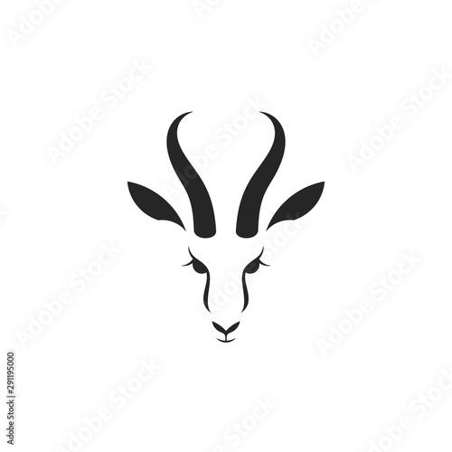 Fotomural  Antelope springbok. Logo. Isolated animal on white background