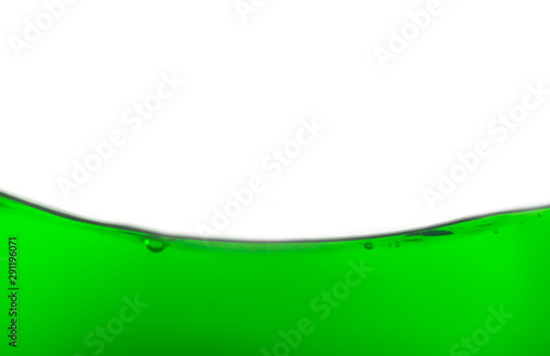 Aluminium Prints Violet The Close up Emerald green Water splashes with bubbles on white background.