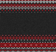 Scandinavian Or Russian Style Knitted Background.