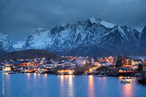 Foto auf Gartenposter Nordlicht Beautiful landscape in Lofoten Islands in Winter, Norway
