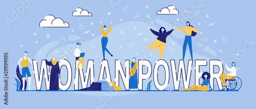 Keuken foto achterwand Positive Typography Characters Dance around Woman Power Typography
