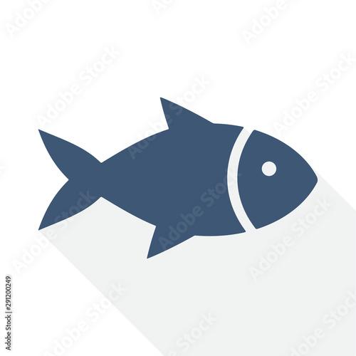 Fototapeta fish vector icon, flat design food illustration for apps and webdesign obraz