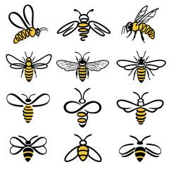 Set medonosnih pčela. Set naljepnica za med i pčele za proizvode s logotipom od meda. Ikona izoliranih insekata. Leteća pčela. Skup apstraktnih modernih grafičkih pčela na bijeloj pozadini. Ravna stilska vektorska ilustracija.