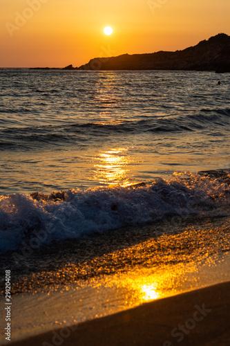 golden sunset at ammes beach kefalonia greec Canvas Print