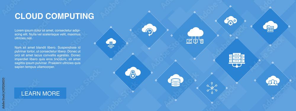 Fototapeta Cloud computing banner 10 icons concept. Cloud Backup, data center, SaaS, Service provider icons
