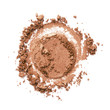canvas print picture - Bronzer or eyeshadow swatch. Crashed brown color shimmer face powder texture. Nude eye shadow smudge isolated on white background