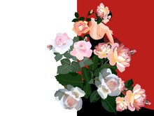 Flamenco Dancer Girl, Dressed In Black Dress, With Fan In Her Hand And And Huge Bouquet Of Rose Flowers. Wedding Invitation. Beautiful Card In Vintage Style.