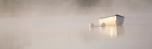 Dreamy Boat Scene Banner In Fog And Golden Sun For Tranquility Calm Peace And Mindfulness Yoga