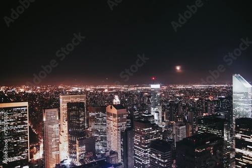 Photo sur Toile New York Ciudad de Nueva York de noche