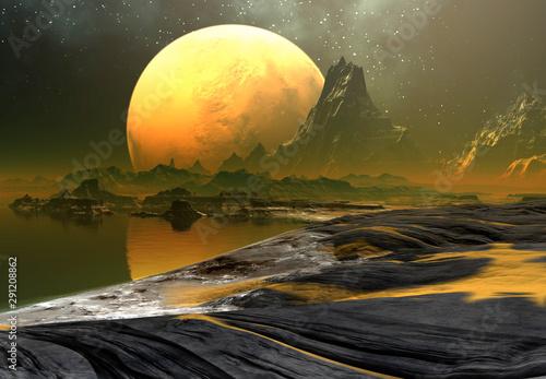 3D Rendered Fantasy Alien Landscape - 3D Illustration Tableau sur Toile