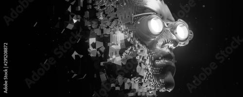 Abstract portrait of a steampunk cyberpunk character Wallpaper Mural