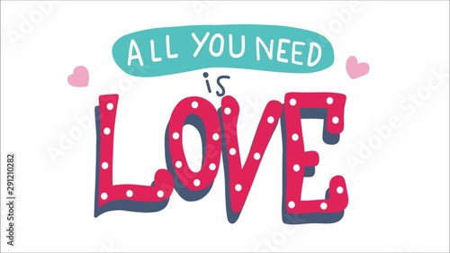 Fotografie, Obraz  All you need is love word lettering doodle style