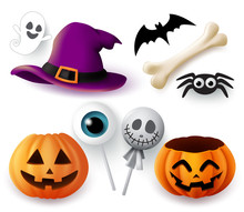 Halloween Objects Vector Set. Halloween Trick Or Treat Elements And Object Of Hat, Pumpkins, Spider, Bone, Bat, Ghost, And Eyeball Lollipop Isolated In White Background. Vector Illustration.