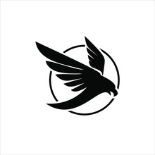 Flying Wings Logo Simple Flat Black Abstract Circle Bird Vector Icon Design