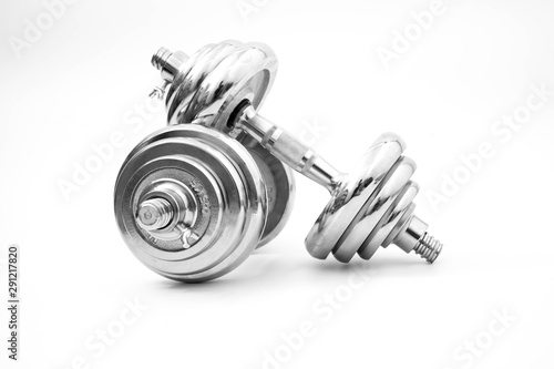 silver iron dumbbell isolated on white Obraz na płótnie