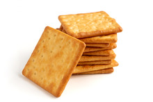 Crushed Dry Cracker Cookies Isolated On White Background. Selective Focus.