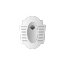 Squat Toilet Seat Icon, Asian Traditional Toilet Bathroom Style.