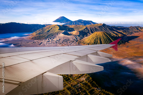 Airplane fly from surabaya and fly over indonesia фототапет
