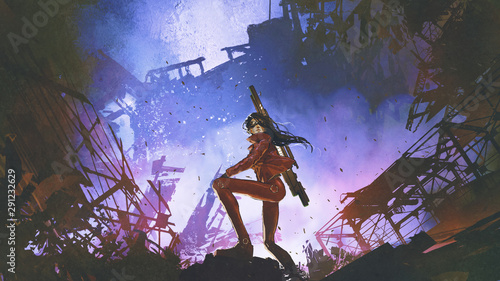 Keuken foto achterwand Grandfailure futuristic soldier woman with gun standing against the ruined city, digital art style, illustration painting