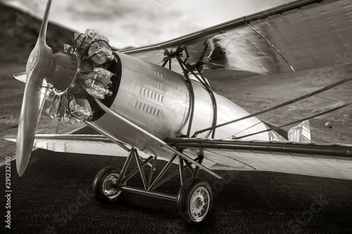 Fototapeta  Vintage propeller airplane, sepia color style.