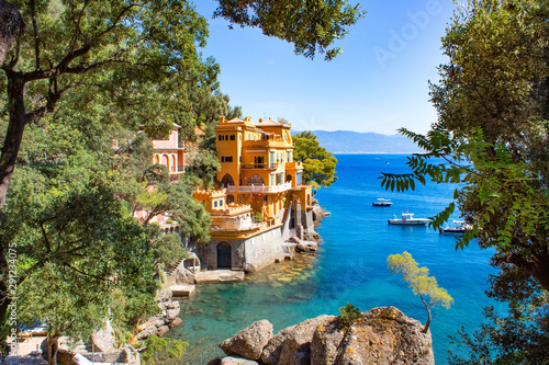 Seaside villas near Portofino in Italy Canvas
