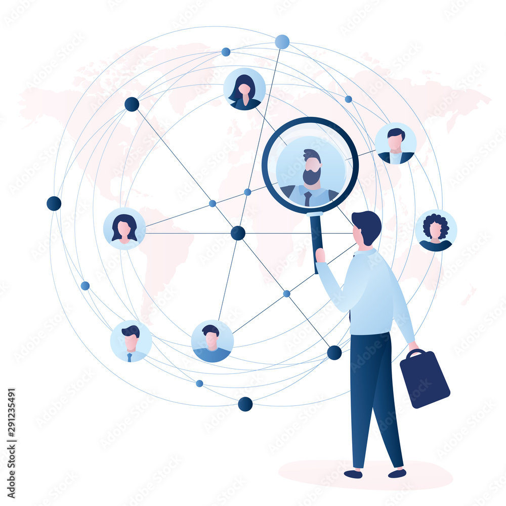 Fototapeta Businessman using magnifying glass for search business contacts and global communication. Various business people avatars.
