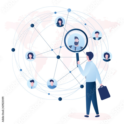 Obraz Businessman using magnifying glass for search business contacts and global communication. Various business people avatars. - fototapety do salonu